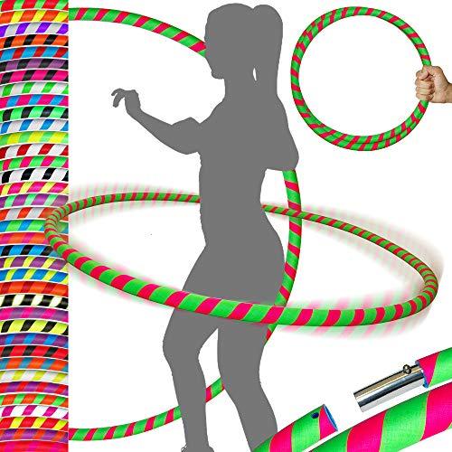 PRO Hula Hoops Reifen für Anfänger und Profis (Ultra-Grip) Faltbarer TRAVEL Hula Hoop ideal für Hoop Dance, Fitness Training, Zirkus & Festivals! - Größe 100cm / 25mm∅, Gewicht 650g (Grun / Rosa)