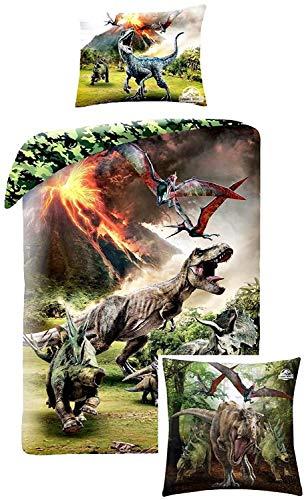 Rainbowfun.de Jurassic World Bed Cover en knuffel kussen, Dino kinderen beddengoed decoratieve kussens, T-Rex