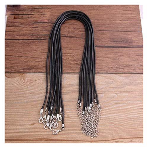 YDZS Collares para Mujeres Negro de Cuero Ajustable Cuerda Cuerda Trenzada joyería de la Pulsera del Collar de Bricolaje Colgantes (Color : Black)