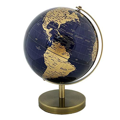 Vintage World Globe 5,5 inch Diameter Decorative Desktop Geographic Globe Rotating Earth Geography (Deep Blue)