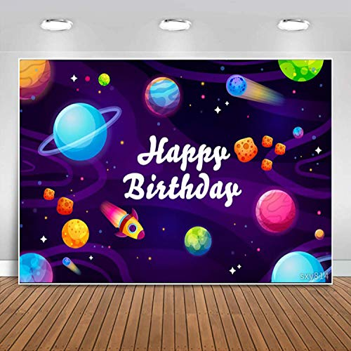 Sensfun Outer Space Planet Backdrop for Boy Astronaut Birthday Decoration Astronomy Rocket Universe Photography Background Children Kids Galaxy Theme 1st Bday Party Banner PhotoShoot Booth Props 7x5ft