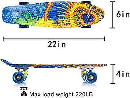 gar/çons Newdora 22/kompletter Skateboard Cruiser avec Buntem LED Lumi/ère de Roue pour Les Enfants Filles Cadeau Parfait