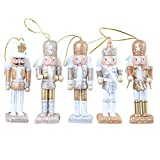 Colgante brillo de Soldado Cascanueces de Madera 5pcs / set, Viva Figuras de Soldado Madera Modelo de Cascanueces Ornamentos de Artesanía de Cascanueces para Navidad, 12 cm de Alto, con Soporte
