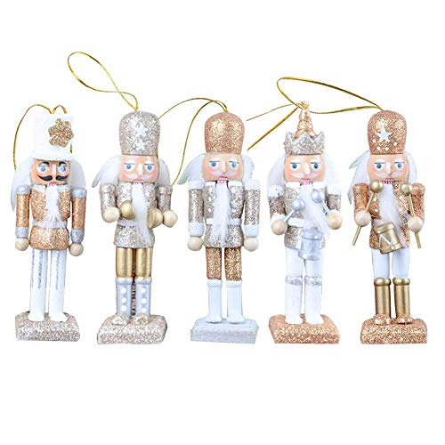 Bouncevi Holz Nussknacker Schmuck, 12 CM Weihnachten Soldat Nussknacker Hängende Dekoration Anhänger Weihnachtsbaum Puppe Spielzeug Geschenk Kinderzimmer Dekoration 5 stücke