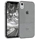 EAZY CASE Hülle kompatibel mit Apple iPhone XR Schutzhülle mit Glitzer, Handyhülle, Schutzhülle, Back Cover mit Glitter, TPU/Silikon, Transparent/Durchsichtig, Anthrazit