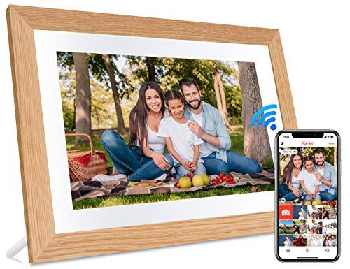 JHZL 10,1 Zoll 1280 x 800 16 GB WiFi Cloud Digitaler Fotorahmen IPS-Touchscreen Bewegungssensor automatisch drehen Fotos/Videos über iPhone und Android Frameo App teilen(Holzrahmen)(Yellow)