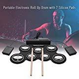 CHARON Electronic Drum Pad Set - Electric Drum Set Roll Up Practice Mini Drum Machine Kit with Headphone Jack Built-in Bluetooth Speaker/Drums Stick/Foot Pedals/Battery Beginners Machine Kids Gift