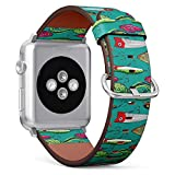 Q-Beans Watchband, Compatible with Small Apple Watch 38mm / 40mm - Replacement Leather Band Bracelet Strap Wristband Accessory // Pop Colorful Fishing Lures Pattern
