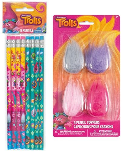 Trolls 8ct Pencils and 4ct Pencil Toppers
