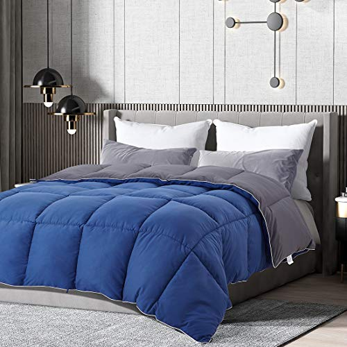 Brermer All Season Queen Soft Quilted Down Alternative Comforter, Hotel Collection Reversible Duvet Insert with 8 Corner Tabs, Winter Warm Fluffy Lightweight, 88x88 inches Navy/Graphite