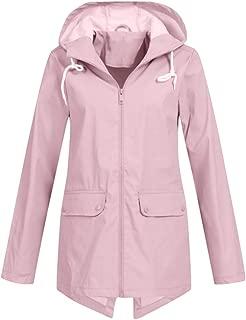 Womens Hooded Jacket,Casual Long Sleeve Zipper Raincoat with Pocket Fashion Outdoor Windbreak Coat