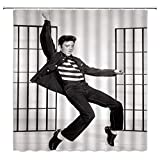 Man Cool Dancing Shower Curtain Retro Decor Jailhouse Rock Publicity Photo 1957,Black White Fabric Hooks Included 70x70 Inch