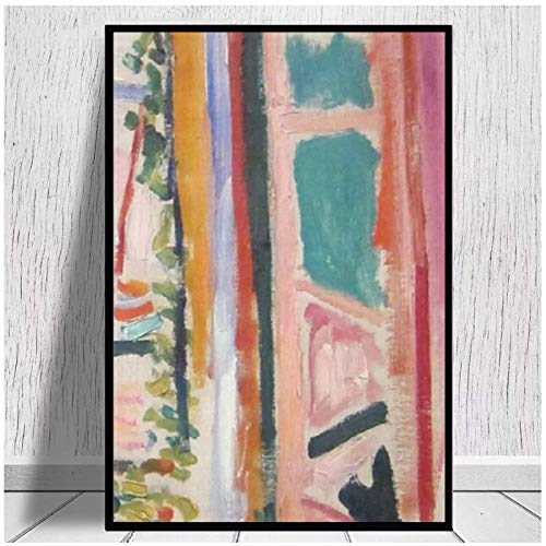 La ventana abierta: impresiones en lienzo de Henri Matisse, póster de pintura en lienzo, decoración de sala de estar moderna para habitación familiar, 24x32 pulgadas sin marco