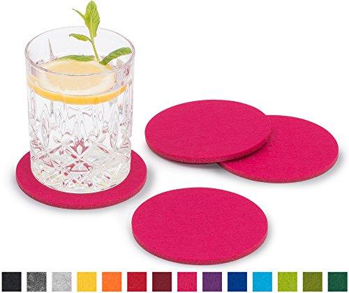 FILU Filzuntersetzer rund 8er Pack einfarbig (Farbe wählbar) pink – Untersetzer aus Filz für Tisch und Bar als Glasuntersetzer/Getränkeuntersetzer für Glas und Gläser
