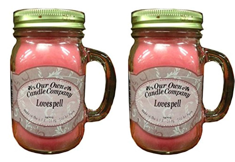 素晴らしい良い多くのコードレス固有のLovespell 13oz 2?- Pack香り大豆ブレンドキャンドルin Mason Jars Made by Our Own Candle Co in usa-100?HR BURN時間あたりCandle