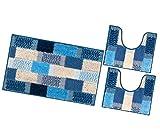 emmevi Juego de 3 alfombras de baño suaves y antideslizantes, absorbentes, lavables, modelo Lila, color azul