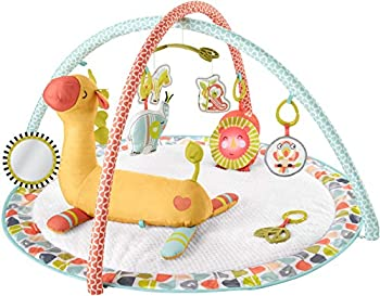 Fisher-Price Go Wild Gym & Giraffe Wedge Infant Activity Gym with Large Playmat Musical Toy & Tummy Time Support Wedge for Babies Multi