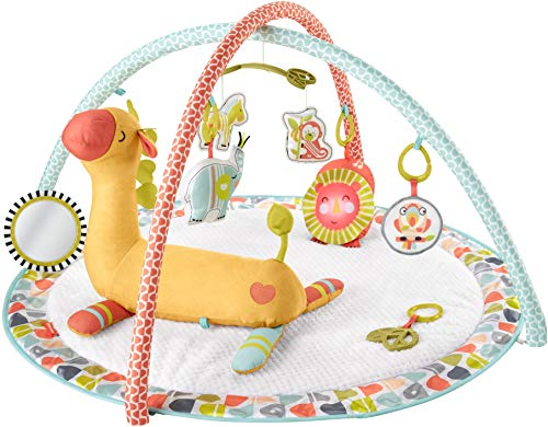 FisherPrice Go Wild Gym amp Giraffe Wedge Infant Activity Gym with Large Playmat Musical Toy amp Tummy Time Support Wedge for Babies Multi