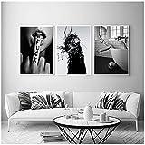 Cuadros en lienzo 60x80cm 3 piezas SIN marco Moda nórdica Mujer sexy Arte Pintura en lienzo Carteles e impresiones Letra blanca negra Cuadros de pared asombrosos para la decoración de la sala de estar