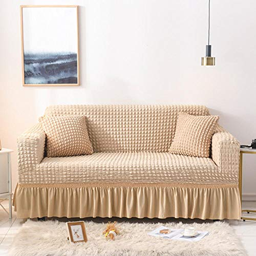 Bbrand Universal Sofa Cover Stretch Slipcovers for Couch 2 Seater 3 Seater 4 Seater Jacquard Fitted Sofa Covers with Skirt Extra Large,Ar08,4 Seater
