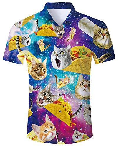 Goodstoworld Taco Cat Shirt Herren Sommer Slim Fit Comfort Freizeithemd Bunt Blumen Kurzes Schwarzes Hemd für Männer XXL