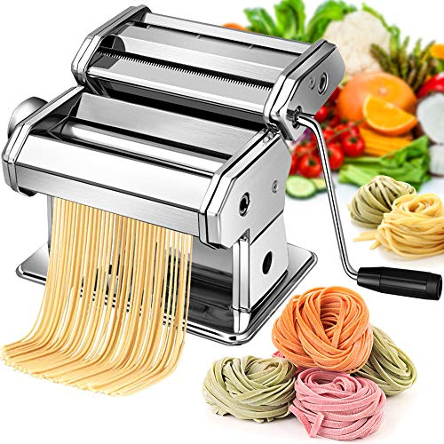 Pasta Maker Machine Hand Crank  Stainless Steel Roller Cutter Manual Noodle Makers  Making Tools Rolling Press Kit Kitchen Accessories Best for Homemade Noodles Spaghetti Fresh Dough
