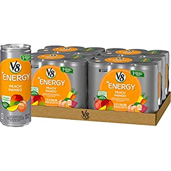 V8 +Energy Healthy Drink Natural Energy from Tea Peach Mango 8 Ounce Can  4 Packs of 6 Total of 24