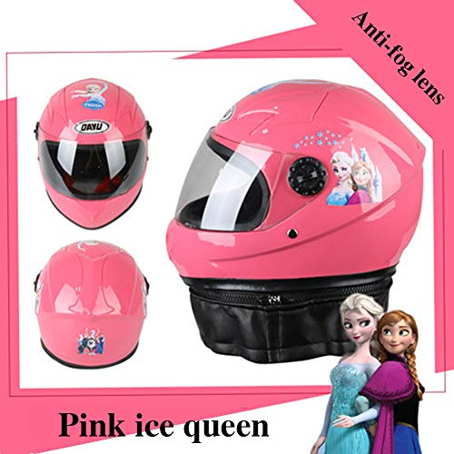 LIANGLIANG Kinderhelm, Motorrad, Vier Jahreszeiten, warm, niedliches Cartoon-Babyhelm, Winter, warm, Unisex, Pink Princess with Anti-Fog...