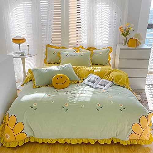 Exlcellexngce Funda De EdredóN 150,Autumn and Winter Sunflower Girl Heart Milk Velvet Thick Baby Velvet Warm Flannel Down Duveed Bed Single Pillowcar-Di_1,8 M De Cama (4pcs)