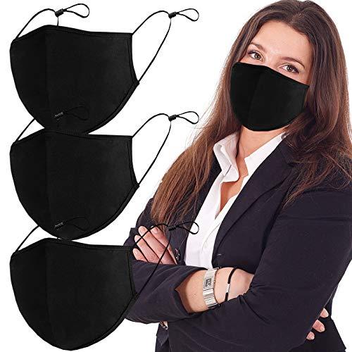 Black 3-Ply Adjustable Cloth Fashion Protective, Reusable Washable Protector-L