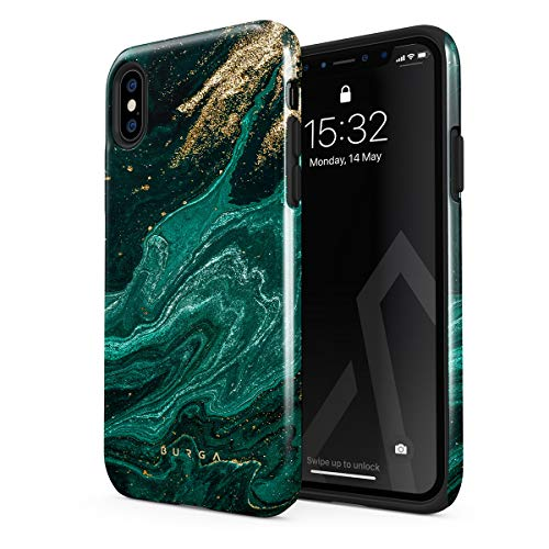 BURGA Phone Case Compatible With iPhone XS MAX - Emerald Green Jade Stone High Fashion Luxury Gold Glitter Marble Cute For Girls Heavy Duty Shockproof Dual Layer Hard Shell + Silicone Protective Cover
