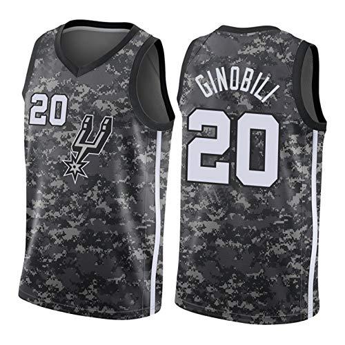 CLKI #20 Spurs Ginóbili - Camiseta de baloncesto para hombre, edición de fans (S-2XL), color negro