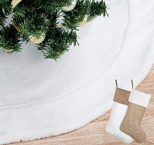 Agoer 48 Zoll Weihnachtsbaum Rock, weiß strukturierte Matte und 2 Stück Strumpf mit Kunstpelz Rand, Weihnachtsbaum Weihnachtsfeier Dekoration