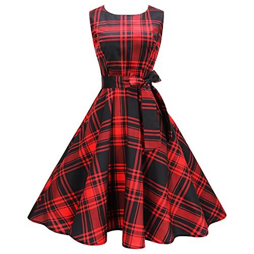 Damen Cocktail Abendkleider Vintage 50er Rockabilly Ärmellose Kleider für Dame Retro Sommer Blumenkleid Damen Hepburn Midi Swing Kleid Freizeit...