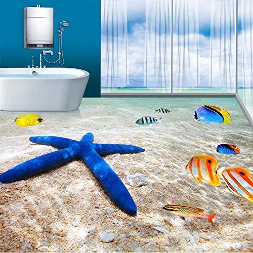 Papel tapiz fotográfico 3d mar playa estrella de mar peces tropicales baño 3d azulejo de piso pintura pinturas murales pvc vinilo impermeable 250x175cm