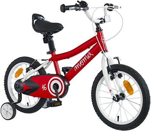 "Moma Bikes - Bicicleta Infantil 16"" con ruedines incluidos, Rojo, Talla Única"