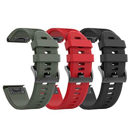 Notocity Compatible Fenix 5X Band 26mm Width Soft Silicone Watch Strap for Fenix 5X Plus/Fenix 6X/Fenix 6X Pro/Fenix 3/Fenix 3 HR/Tactix/Descent MK1/D2 Delta PX/D2 Charlie-3pcs