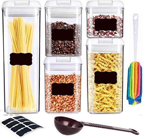Juego de recipientes herméticos – Recipientes de almacenamiento de cereales – sin BPA – Recipientes transparentes 5 juegos