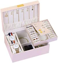 GPWDSN Sieradendoos Organizer, 2-laags PU lederen sieraden opbergkoffer met slot voor meisjes vrouwen, roze, wit (roze)