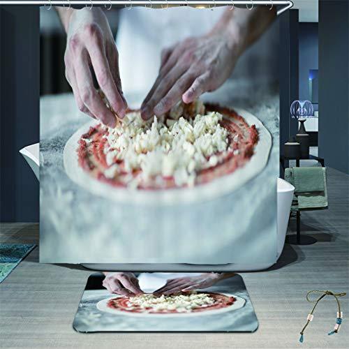 zhkn Duschvorhang Pizza Muster Wasserdicht Formwiderstandsfähig Bad Vorhang Waschbar Polyester Duschvorhänge Mit 12 Haken 150X180CM