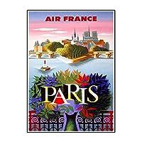 IDOLN1 パリフランスヴィンテージ航空旅行広告ポスターキャンバスプリント写真と絵画リビングルームの壁の装飾-50x70cmフレームなし1PCS