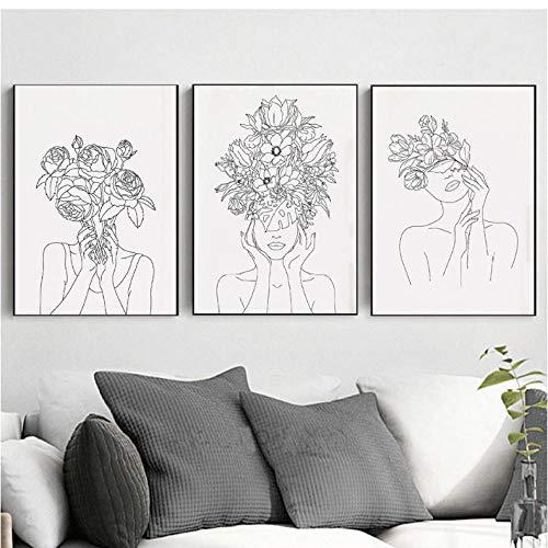 Plantenkop Vrouw Kunstdruk Vrouw met Planten Bloem Minimalistische Zwarte en Witte Noordse Wandfoto's voor Woonkamer Huisdecoratie 60x80cmx3 ongekaderde