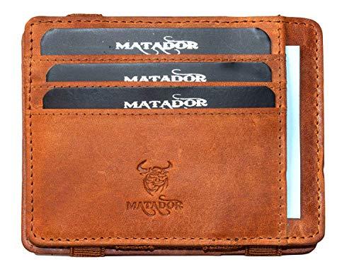 Matador Echt Leder Geldbörse Magic Wallet Kreditkartenetui Slim mit Kleingeldfach (Hell Braun)