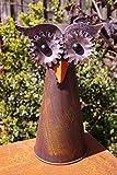 Rostalgie Metall Zaunfigur Eule braun 22x10cm Zaunhocker Gartendekoration Vogel