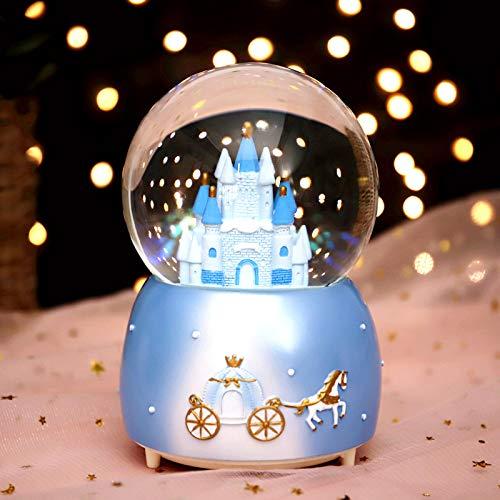 HLONGG Scatola Musicale Cristallo Globo della Neve Box Rotante Scatola luci Colorate Castello Melody Artware Dreamy ed squisita Ornamento per Compleanno Natale Ringraziamento registri Presente,Blu