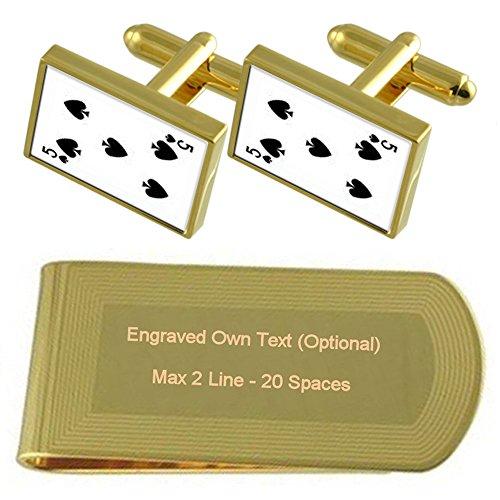 Select Gifts Picas Naipe número 5 Tono Oro Gemelos Money Clip Grabado Set de Regalo