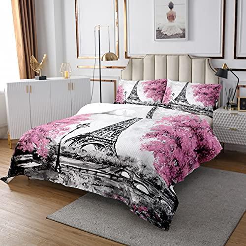 Homewish Eiffelturm Bettdecke Set für Kinder Mädchen Teens Frauen,Rosa Kirschblüten gesteppt,Romantische Paris Tagesdecke,Berühmtes Urban Quilt Set Für Schlafzimmer Dekor 220x240 Grau