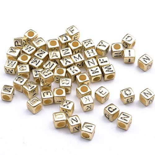 YJYJ Letras Alfabeto Beads 6mm Cuadrado Perlas De Acrílico DIY Accesorios De Joyería (Oro) 100pcs