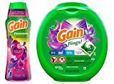Gain flings! Laundry Detergent Pacs Plus Aroma Boost, Moonlight Breeze Scent, HE Compatible, 81 Count (Packaging May Vary) W/Fireworks in-Wash Scent Booster Beads, Moonlight Breeze, 20.1 Ounce