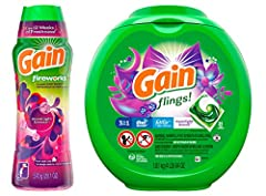 Gain Flings and Tide Pods are America's favorite laundry pacs. 2x the cleaning ingredients vs Gain Original Scent liquid laundry detergent. 6 weeks of freshness from wash until wear. GAIN Fireworks In-Wash Scent Booster gives your laundry up to 12 we...